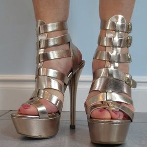 """Just Fab """"Aster"""" Gold Buckled Sandal Heels"""